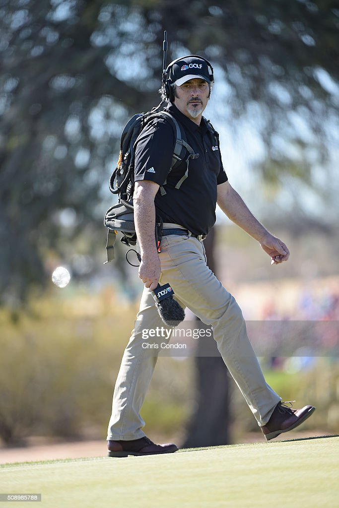 David Feherty of NBC Golf Channel walks to the 11th green during the final round of the Waste Management Phoenix Open at TPC Scottsdale on February 7...