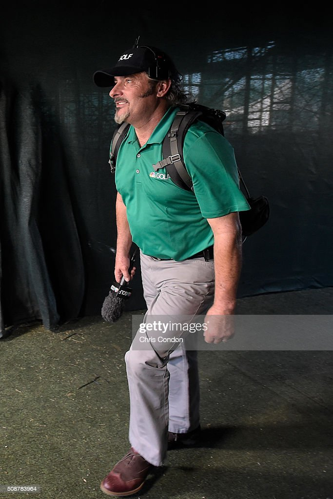<a gi-track='captionPersonalityLinkClicked' href=/galleries/search?phrase=David+Feherty&family=editorial&specificpeople=3021151 ng-click='$event.stopPropagation()'>David Feherty</a> of NBC Golf walks through the tunnel to the 16th tee during the third round of the Waste Management Phoenix Open, at TPC Scottsdale on February 6, 2016 in Scottsdale, Arizona.