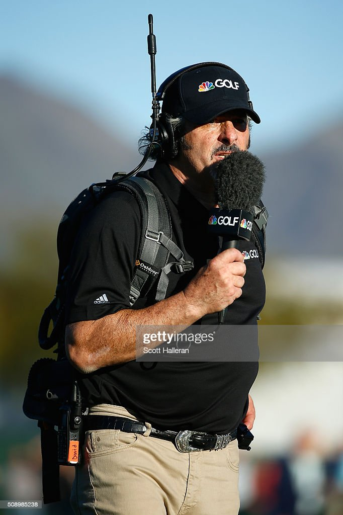 David Feherty of NBC Sports reports live on the course during the final round of the Waste Management Phoenix Open at TPC Scottsdale on February 7...