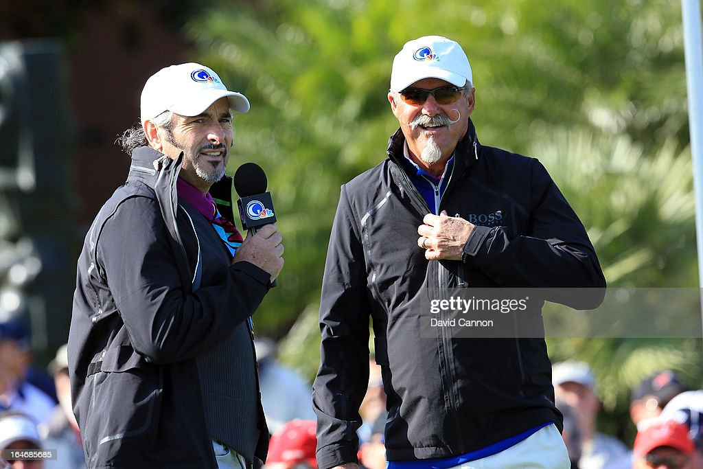David Feherty of Northern Ireland and Gary McCord of the Golf Channel on the first tee during the final day of the 2013 Tavistock Cup Matches at...