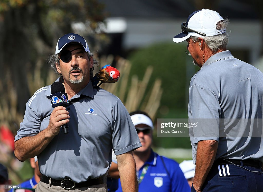 David Feherty of Northern Ireland and Gary McCord the Golf Channel Television commentators having fun on the 1st tee during the second day of the...