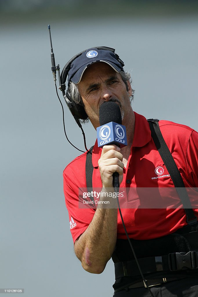David Feherty of Northern Ireland the Gofl Channel Television announcer during the second day of the 2011 Tavistock Cup at Isleworth Golf and Country...