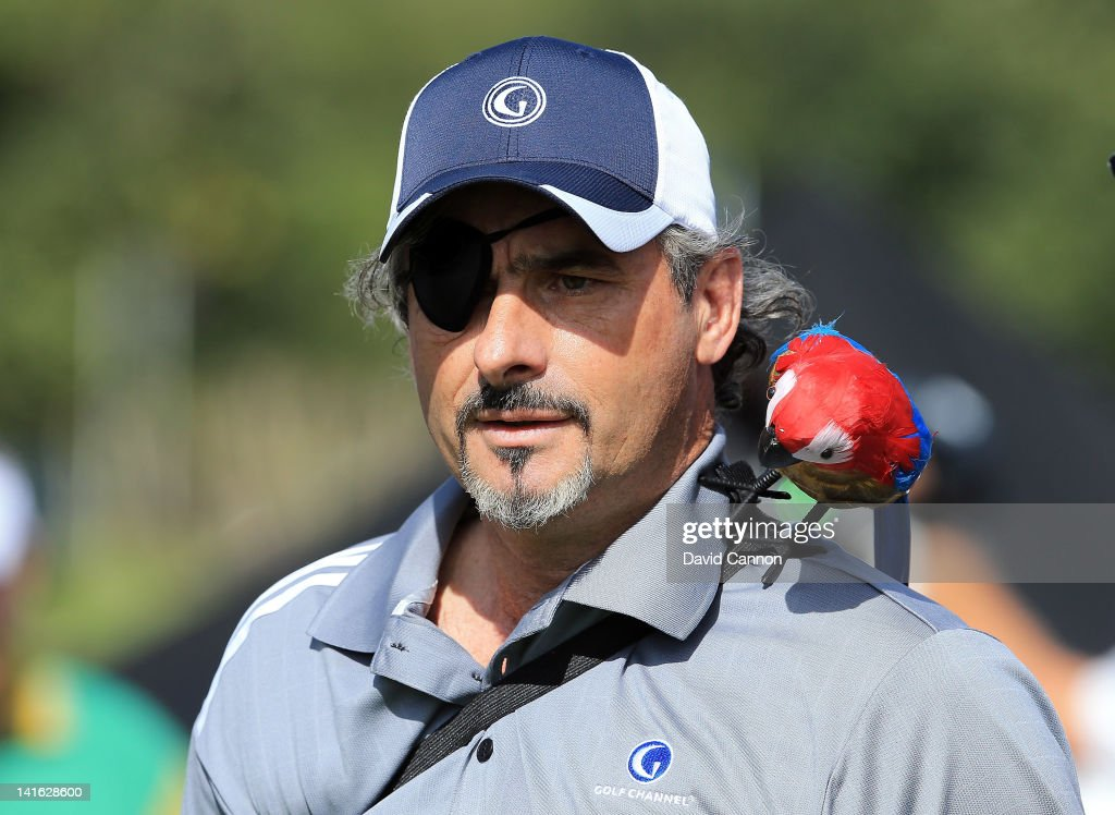 David Feherty of Northern Ireland the Golf Channel Television commentator having fun on the 1st tee during the second day of the 2012 Tavistock Cup...