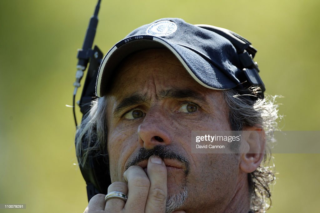 David Feherty of Northern Ireland the Golf Channel Television on course commentator during the first day of the 2011 Tavistock Cup at Isleworth Golf...