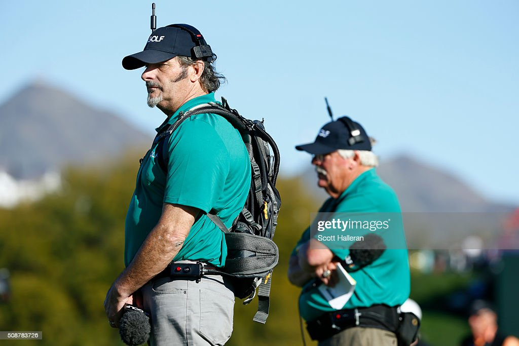 <a gi-track='captionPersonalityLinkClicked' href=/galleries/search?phrase=David+Feherty&family=editorial&specificpeople=3021151 ng-click='$event.stopPropagation()'>David Feherty</a> reports for NBS Sports alongside <a gi-track='captionPersonalityLinkClicked' href=/galleries/search?phrase=Roger+Maltbie&family=editorial&specificpeople=3081600 ng-click='$event.stopPropagation()'>Roger Maltbie</a> on the course during the third round of the Waste Management Phoenix Open at TPC Scottsdale on February 6, 2016 in Scottsdale, Arizona.