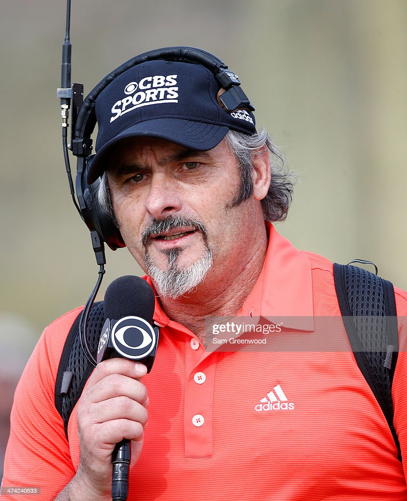David Feherty reports on the action for CBS Sports during the quarterfinal round of the World Golf Championships Accenture Match Play Championship at...