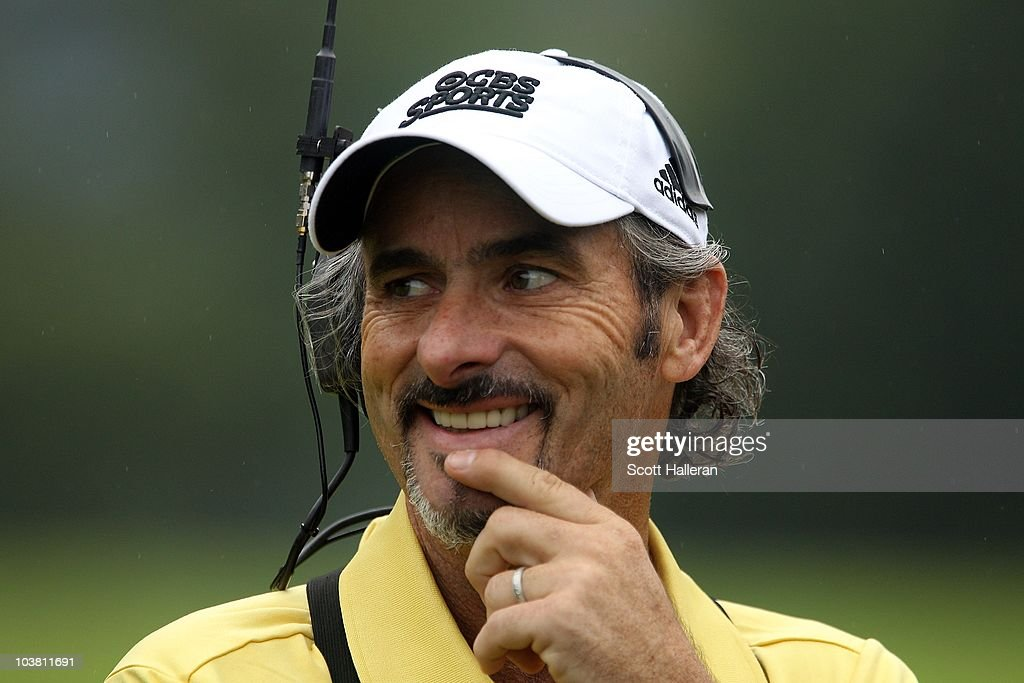 David Feherty works for CBS Sports during the third round of the Greenbrier Classic on The Old White Course at the Greenbrier Resort on July 31 2010...