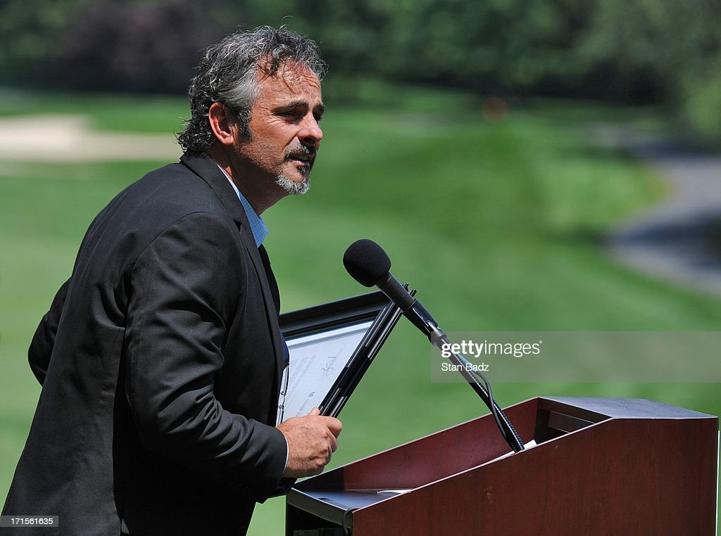 David Feherty's Troops First Foundation is named the 2013 Military Charity of the year during the patriotic opening ceremony at the ATT National at...