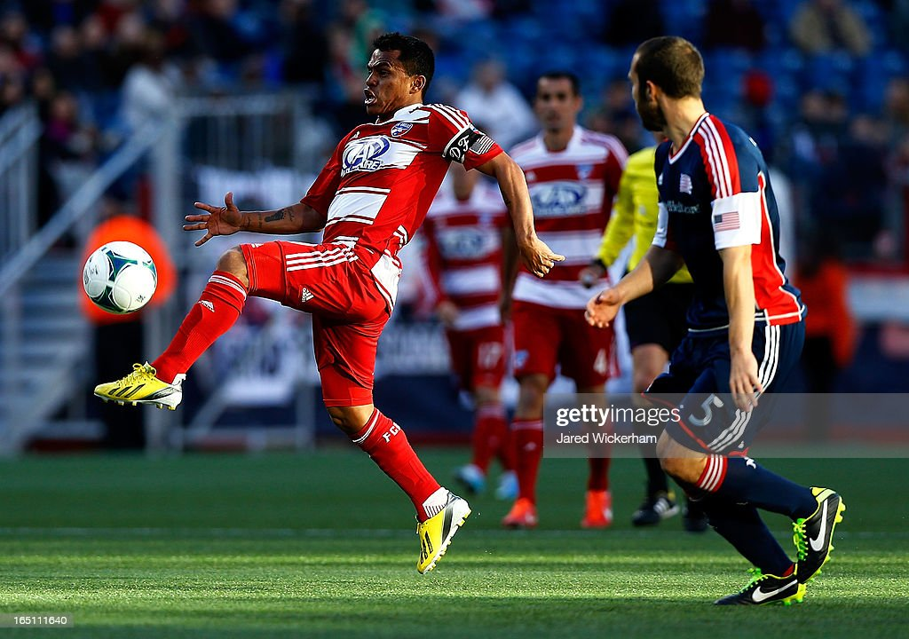 David Ferreira #10 of FC Dallas handles the ball in front of <a gi-track='captionPersonalityLinkClicked' href=/galleries/search?phrase=A.J.+Soares&family=editorial&specificpeople=7433599 ng-click='$event.stopPropagation()'>A.J. Soares</a> #5 of New England Revolution during the game at Gillette Stadium on March 30, 2013 in Foxboro, Massachusetts.