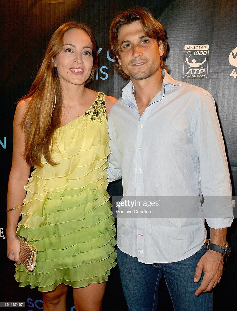 <a gi-track='captionPersonalityLinkClicked' href=/galleries/search?phrase=David+Ferrer&family=editorial&specificpeople=208197 ng-click='$event.stopPropagation()'>David Ferrer</a> and guest arrives at Sony Open Player Party 2013 at JW Marriott Marquis on March 19, 2013 in Miami, Florida.