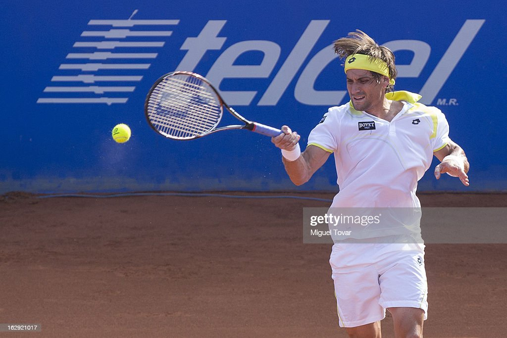 David Ferrer from Spain in action during a tennis match against Paolo Lorenzi from Italy as part of the ATP Mexican Open Tennis at Pacific Resort on February 28, 2013 in Acapulco, Mexico.