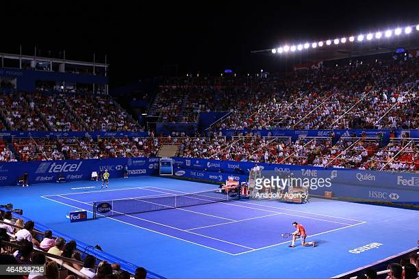 David Ferrer of Spain against Kei Nishikori of Japan in men's single match within Telcel Mexican Open 2015 at Mextenis Stadium on February 28 2015 in...