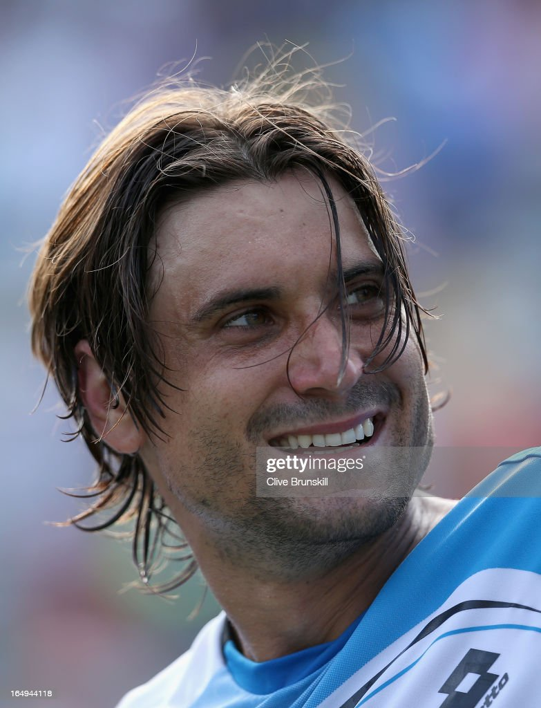 David Ferrer of Spain celebrates after his three set victory against Tommy Haas of Germany during their semi final match at the Sony Open at Crandon Park Tennis Center on March 29, 2013 in Key Biscayne, Florida.