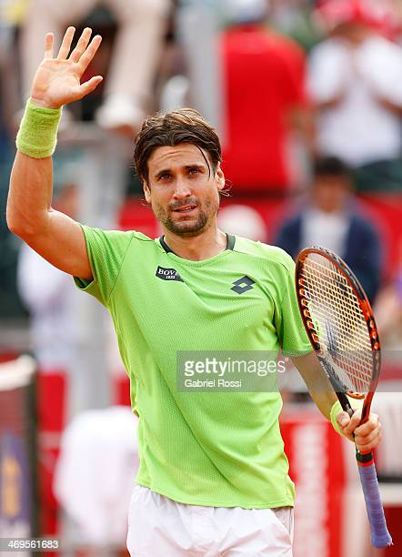 David Ferrer of Spain celebrates after winning the match between David Ferrer and Nicolas Almagro as part of ATP Buenos Aires Copa Claro on February...