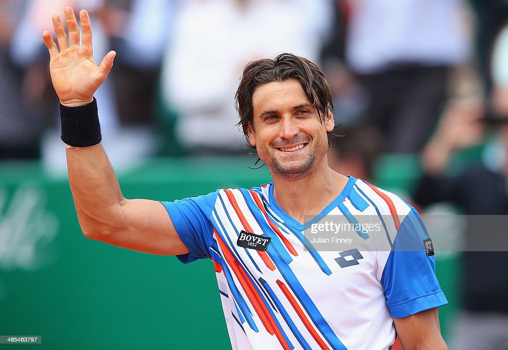 <a gi-track='captionPersonalityLinkClicked' href=/galleries/search?phrase=David+Ferrer&family=editorial&specificpeople=208197 ng-click='$event.stopPropagation()'>David Ferrer</a> of Spain celebrates defeating Rafael Nadal of Spain during day six of the ATP Monte Carlo Rolex Masters Tennis at Monte-Carlo Sporting Club on April 18, 2014 in Monte-Carlo, Monaco.