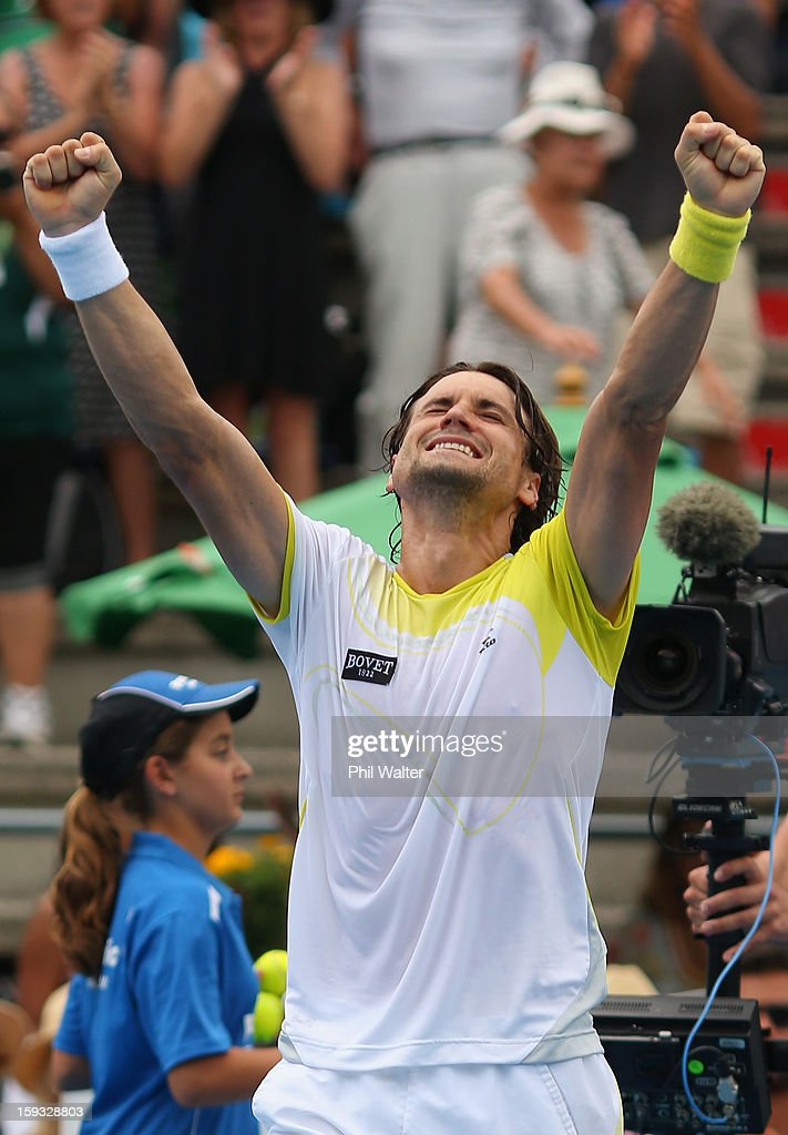 <a gi-track='captionPersonalityLinkClicked' href=/galleries/search?phrase=David+Ferrer&family=editorial&specificpeople=208197 ng-click='$event.stopPropagation()'>David Ferrer</a> of Spain celebrates following his singles final against Philipp Kohlschreiber of Germany during day six of the Heineken Cup at ASB Tennis Centre on January 12, 2013 in Auckland, New Zealand.