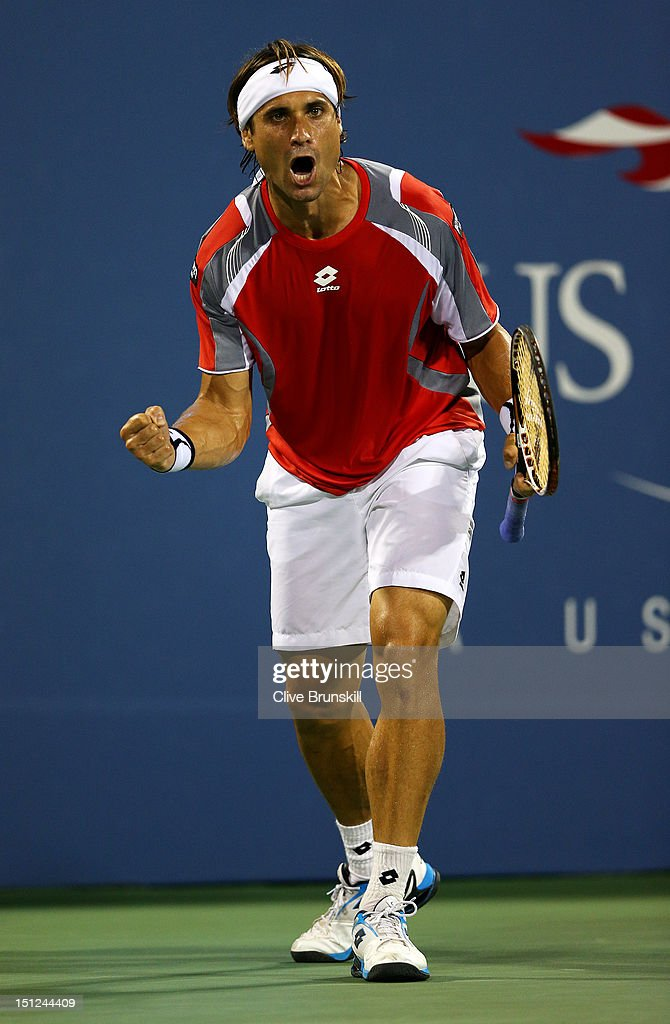 <a gi-track='captionPersonalityLinkClicked' href=/galleries/search?phrase=David+Ferrer&family=editorial&specificpeople=208197 ng-click='$event.stopPropagation()'>David Ferrer</a> of Spain celebrates match point against Richard Gasquet of France during their men's singles fourth round match on Day Nine of the 2012 US Open at USTA Billie Jean King National Tennis Center on September 4, 2012 in the Flushing neighborhood of the Queens borough of New York City.