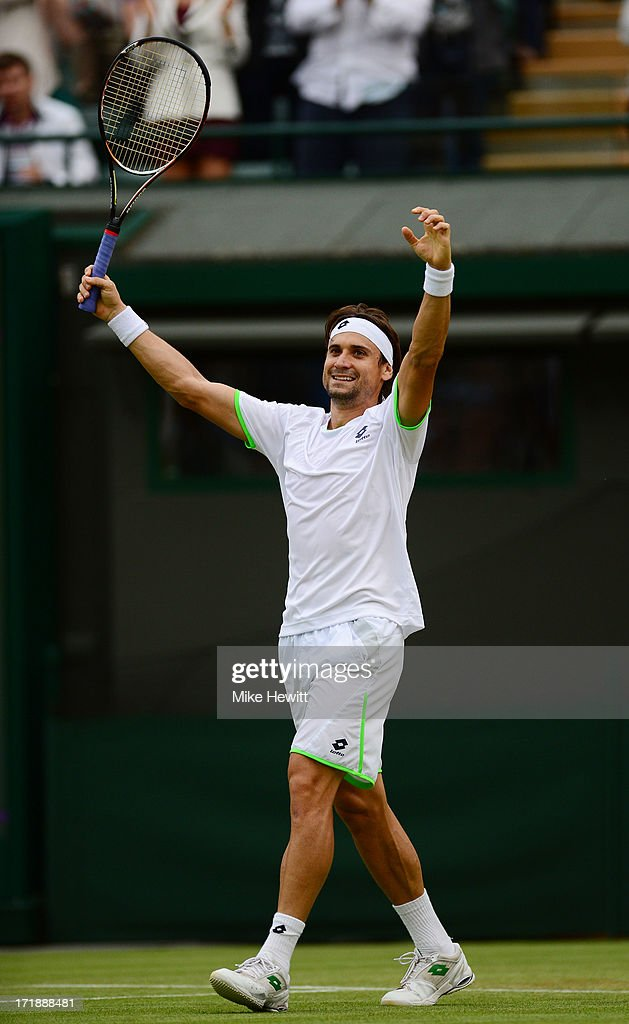 <a gi-track='captionPersonalityLinkClicked' href=/galleries/search?phrase=David+Ferrer&family=editorial&specificpeople=208197 ng-click='$event.stopPropagation()'>David Ferrer</a> of Spain celebrates match point during the Gentlemen's Singles third round match against Alexandr Dolgopolov of Ukraine on day six of the Wimbledon Lawn Tennis Championships at the All England Lawn Tennis and Croquet Club on June 29, 2013 in London, England.