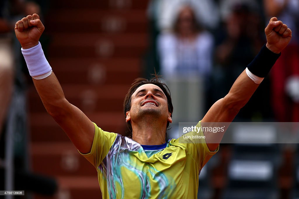 <a gi-track='captionPersonalityLinkClicked' href=/galleries/search?phrase=David+Ferrer&family=editorial&specificpeople=208197 ng-click='$event.stopPropagation()'>David Ferrer</a> of Spain celebrates victory in his men' singles match against Marin Cilic of Croatia on day nine of the 2015 French Open at Roland Garros on June 1, 2015 in Paris, France.