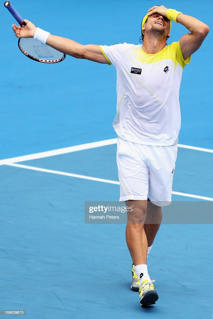 David Ferrer of Spain celebrates winning the final against Philipp Kohlschreiber of Germany during day six of the Heineken Open at ASB Tennis Centre on January 12, 2013 in Auckland, New Zealand.