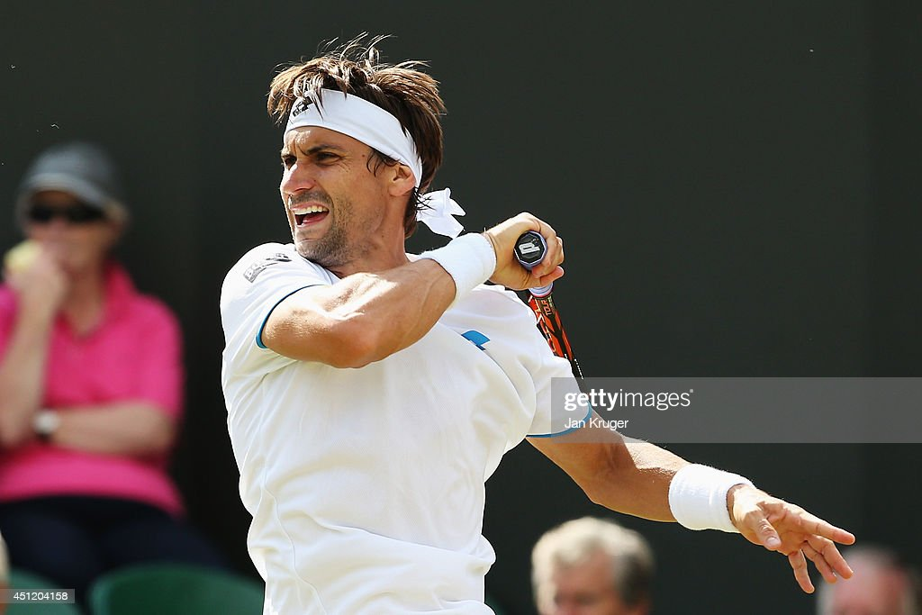<a gi-track='captionPersonalityLinkClicked' href=/galleries/search?phrase=David+Ferrer&family=editorial&specificpeople=208197 ng-click='$event.stopPropagation()'>David Ferrer</a> of Spain during his Gentlemen's Singles second round match against Andrey Kuznetsov of Russia on day three of the Wimbledon Lawn Tennis Championships at the All England Lawn Tennis and Croquet Club at Wimbledon on June 25, 2014 in London, England.