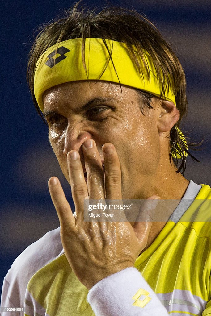David Ferrer of Spain gestures during the final tennis match against Rafael Nadal of Spain as part of the Mexican Tennis Open Acapulco 2013 at Pacific resort on March 02, 2013 in Acapulco, Mexico.