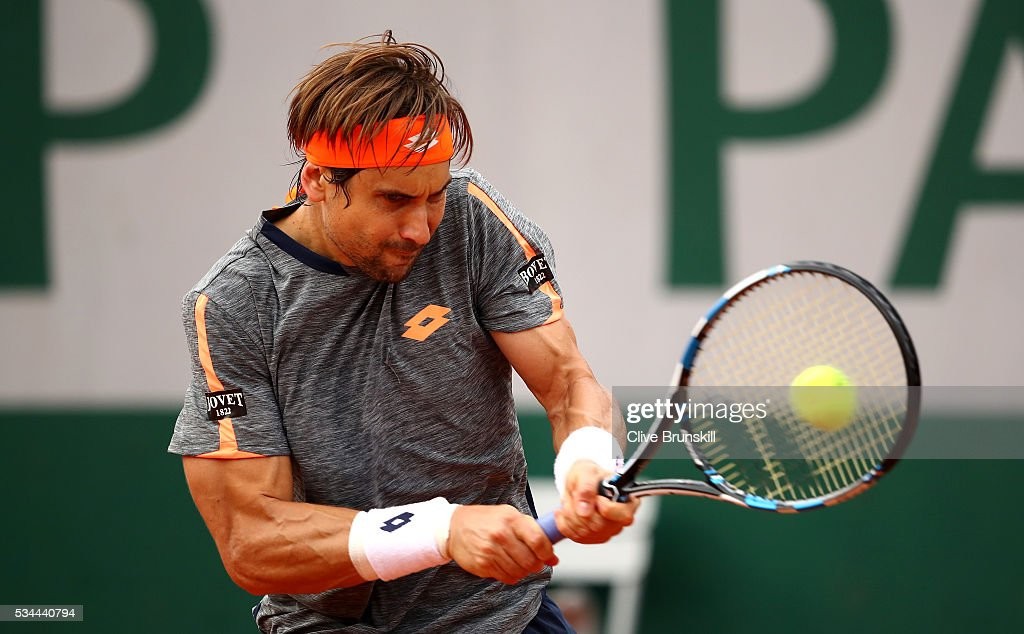 <a gi-track='captionPersonalityLinkClicked' href=/galleries/search?phrase=David+Ferrer&family=editorial&specificpeople=208197 ng-click='$event.stopPropagation()'>David Ferrer</a> of Spain hits a backhand during the Men's Singles second round match against Juan Monaco of Argentina on day five of the 2016 French Open at Roland Garros on May 26, 2016 in Paris, France.