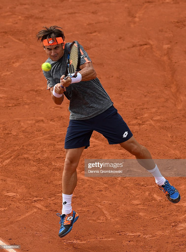 <a gi-track='captionPersonalityLinkClicked' href=/galleries/search?phrase=David+Ferrer&family=editorial&specificpeople=208197 ng-click='$event.stopPropagation()'>David Ferrer</a> of Spain hits a backhand during the Men's Singles third round match against Feliciano Lopez of Spain on day seven of the 2016 French Open at Roland Garros on May 28, 2016 in Paris, France.