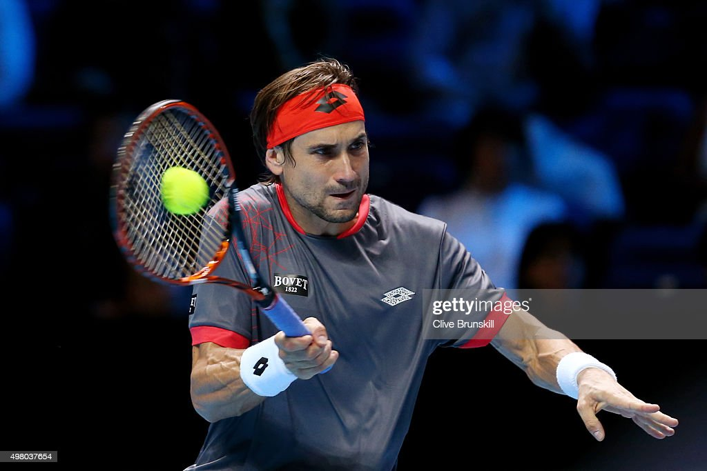 David Ferrer of Spain hits a forehand during the men's singles match against Rafael Nadal of Spain on day six of the Barclays ATP World Tour Finals at the O2 Arena on November 20, 2015 in London, England.