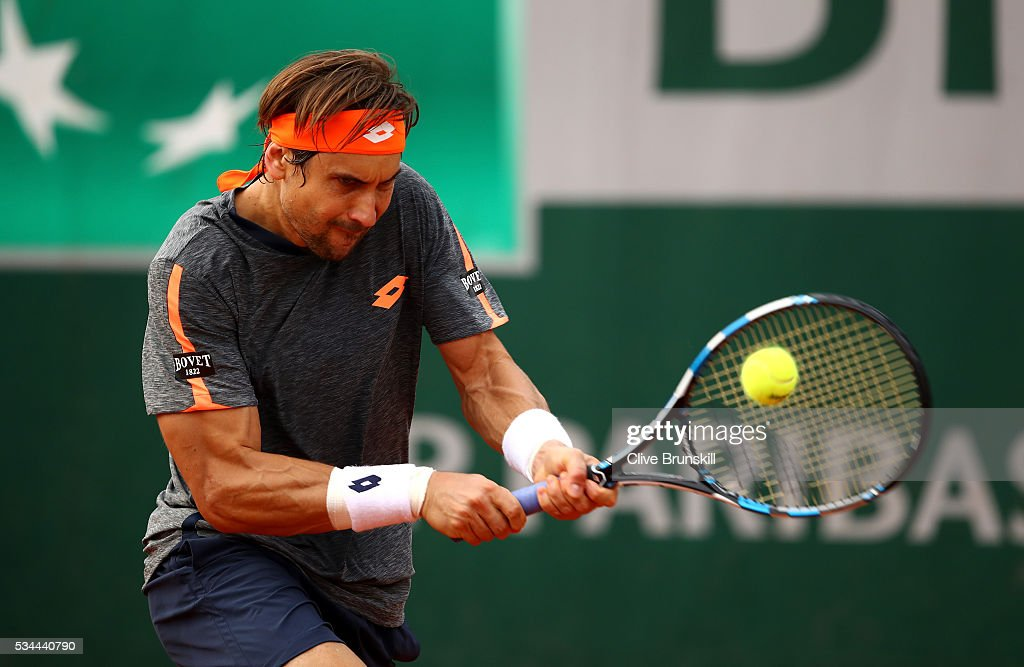 <a gi-track='captionPersonalityLinkClicked' href=/galleries/search?phrase=David+Ferrer&family=editorial&specificpeople=208197 ng-click='$event.stopPropagation()'>David Ferrer</a> of Spain hits a forehand during the Men's Singles second round match against Juan Monaco of Argentina on day five of the 2016 French Open at Roland Garros on May 26, 2016 in Paris, France.