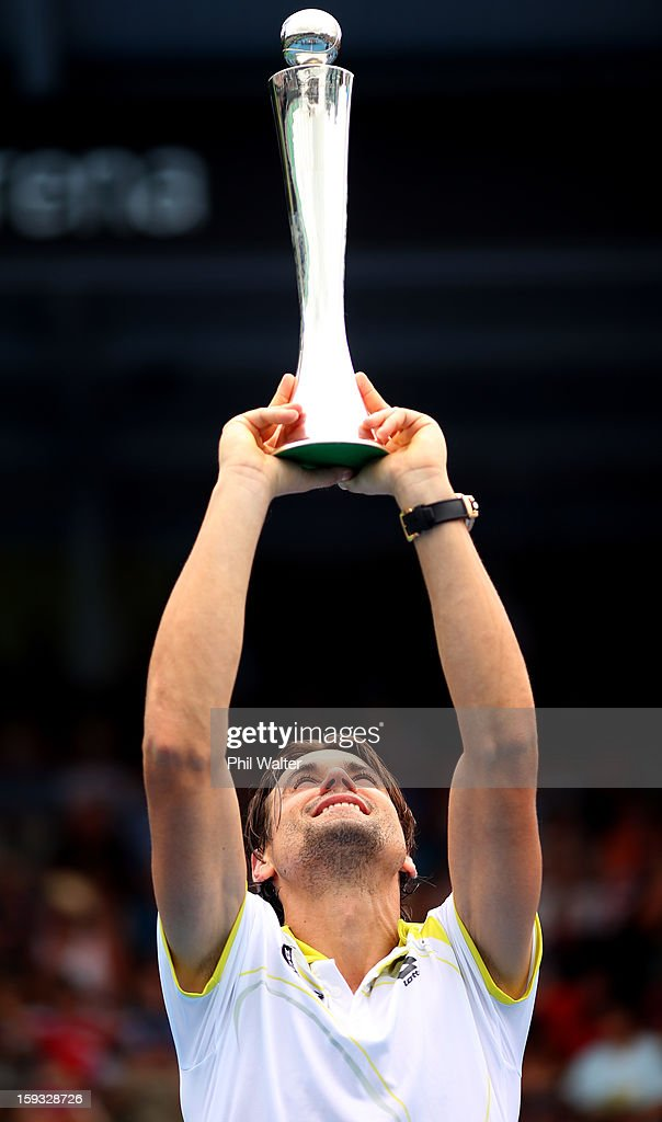David Ferrer of Spain holds the trophy following his singles final against Philipp Kohlschreiber of Germany during day six of the Heineken Cup at ASB Tennis Centre on January 12, 2013 in Auckland, New Zealand.