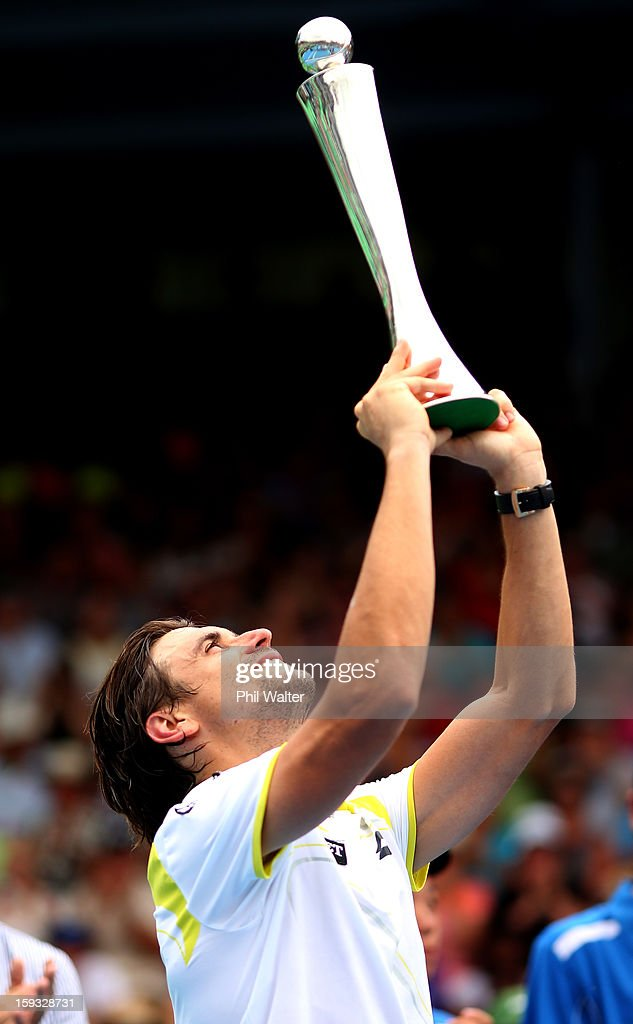 <a gi-track='captionPersonalityLinkClicked' href=/galleries/search?phrase=David+Ferrer&family=editorial&specificpeople=208197 ng-click='$event.stopPropagation()'>David Ferrer</a> of Spain holds the trophy following his singles final against Philipp Kohlschreiber of Germany during day six of the Heineken Cup at ASB Tennis Centre on January 12, 2013 in Auckland, New Zealand.