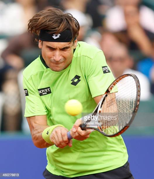 David Ferrer of Spain in action during an exhibition at Jockey Club on November 17 2013 in Lima Peru