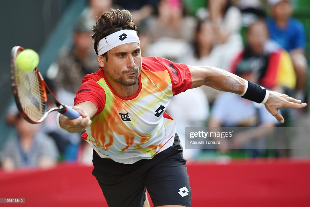 <a gi-track='captionPersonalityLinkClicked' href=/galleries/search?phrase=David+Ferrer&family=editorial&specificpeople=208197 ng-click='$event.stopPropagation()'>David Ferrer</a> of Spain in action during the men's singles first round match against Marcel Granollers of Spain on day one of Rakuten Open 2014 at Ariake Colosseum on September 29, 2014 in Tokyo, Japan.