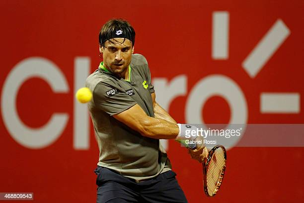 David Ferrer of Spain makes a shot during a tennis match between David Ferrer and Maximo Gonzalez as part of ATP Buenos Aires Copa Claro on February...