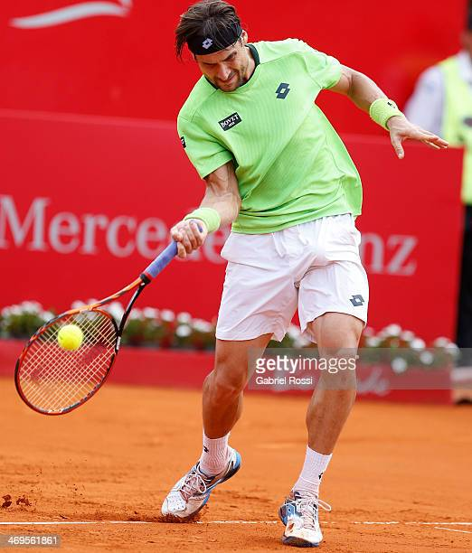 David Ferrer of Spain makes a shot during a tennis match between David Ferrer and Nicolas Almagro as part of ATP Buenos Aires Copa Claro on February...
