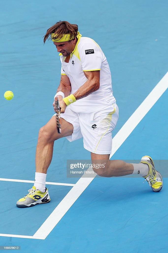 David Ferrer of Spain plays a backhand during the final against Philipp Kohlschreiber of Germany during day six of the Heineken Open at ASB Tennis Centre on January 12, 2013 in Auckland, New Zealand.