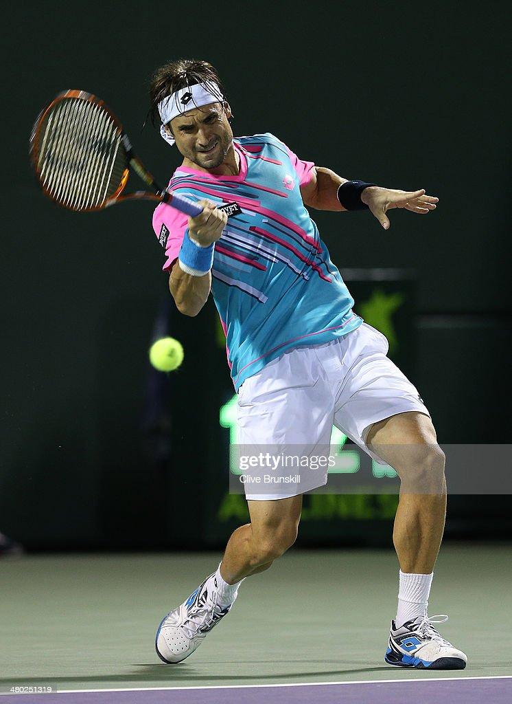 <a gi-track='captionPersonalityLinkClicked' href=/galleries/search?phrase=David+Ferrer&family=editorial&specificpeople=208197 ng-click='$event.stopPropagation()'>David Ferrer</a> of Spain plays a forehand against Andreas Seppi of Italy during their third round match during day 7 at the Sony Open at Crandon Park Tennis Center on March 23, 2014 in Key Biscayne, Florida.