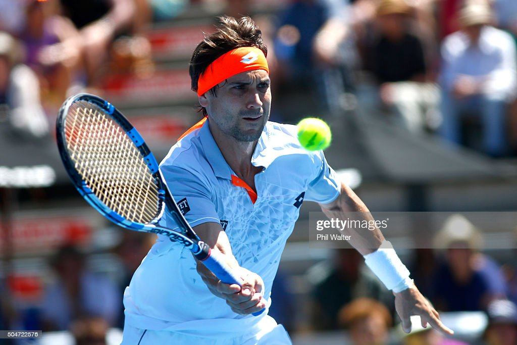 <a gi-track='captionPersonalityLinkClicked' href=/galleries/search?phrase=David+Ferrer&family=editorial&specificpeople=208197 ng-click='$event.stopPropagation()'>David Ferrer</a> of Spain plays a forehand against Matthew Barton of Australia on Day 3 of the ASB Classic on January 13, 2016 in Auckland, New Zealand.
