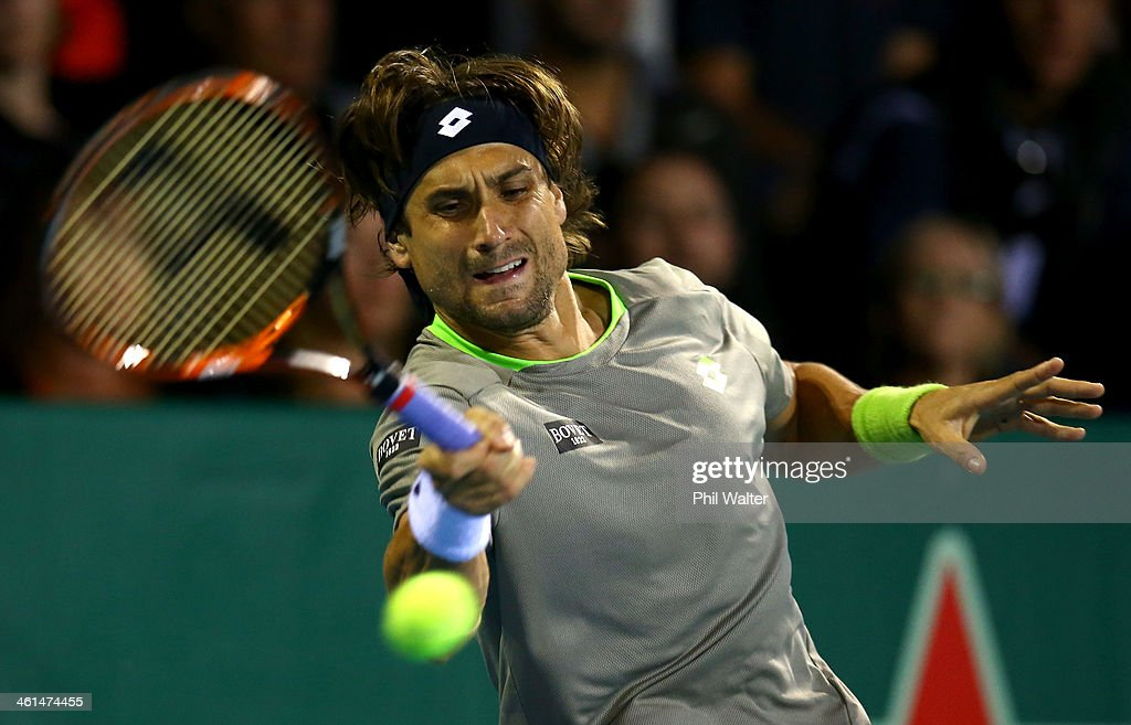 <a gi-track='captionPersonalityLinkClicked' href=/galleries/search?phrase=David+Ferrer&family=editorial&specificpeople=208197 ng-click='$event.stopPropagation()'>David Ferrer</a> of Spain plays a forehand during his match against Guillermo Garcia-Lopez of Spain during day four of the Heineken Open at ASB Tennis Centre on January 9, 2014 in Auckland, New Zealand.