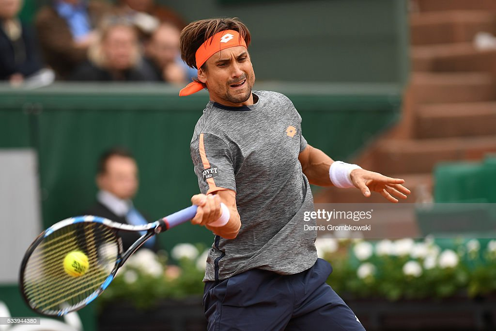 <a gi-track='captionPersonalityLinkClicked' href=/galleries/search?phrase=David+Ferrer&family=editorial&specificpeople=208197 ng-click='$event.stopPropagation()'>David Ferrer</a> of Spain plays a forehand during the Men's Singles first round match against Evgeny Donskoy of Russia on day three of the 2016 French Open at Roland Garros on May 24, 2016 in Paris, France.