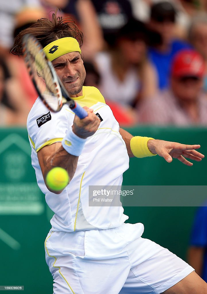 David Ferrer of Spain plays a forehand in his singles final against Philipp Kohlschreiber of Germany during day six of the Heineken Cup at ASB Tennis Centre on January 12, 2013 in Auckland, New Zealand.
