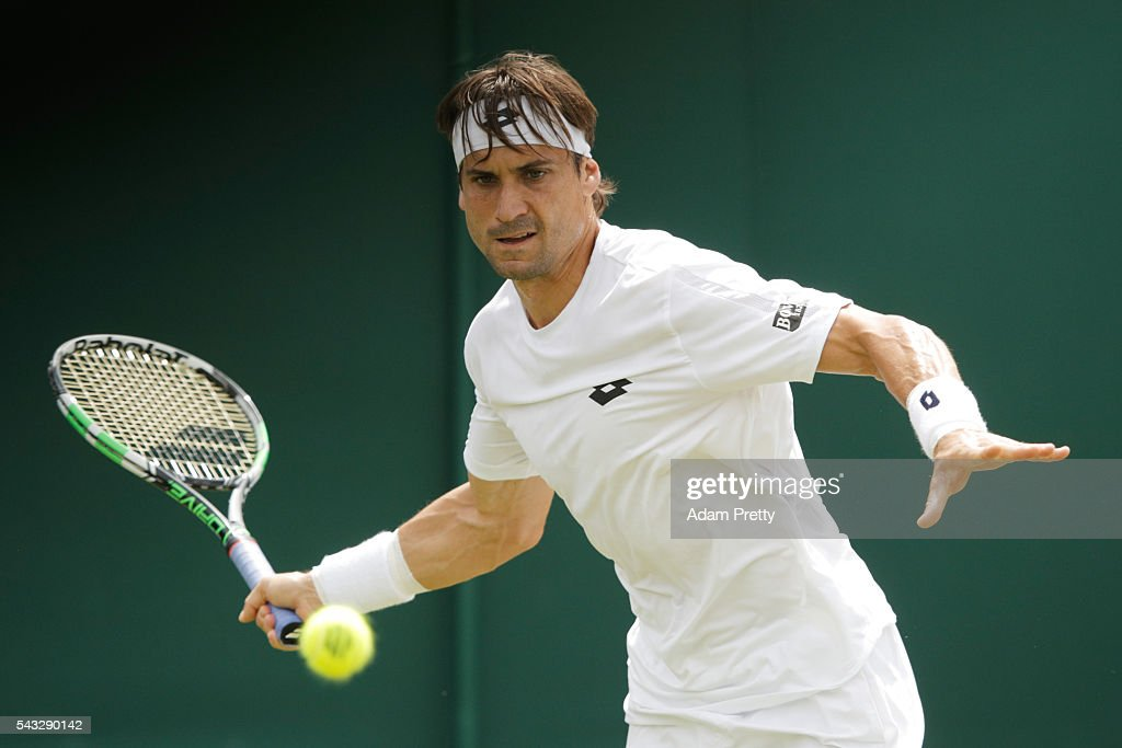 <a gi-track='captionPersonalityLinkClicked' href=/galleries/search?phrase=David+Ferrer&family=editorial&specificpeople=208197 ng-click='$event.stopPropagation()'>David Ferrer</a> of Spain plays a forehand shot during the Men's Singles first round match against Dudi Sela of Israel on day one of the Wimbledon Lawn Tennis Championships at the All England Lawn Tennis and Croquet Club on June 27th, 2016 in London, England.