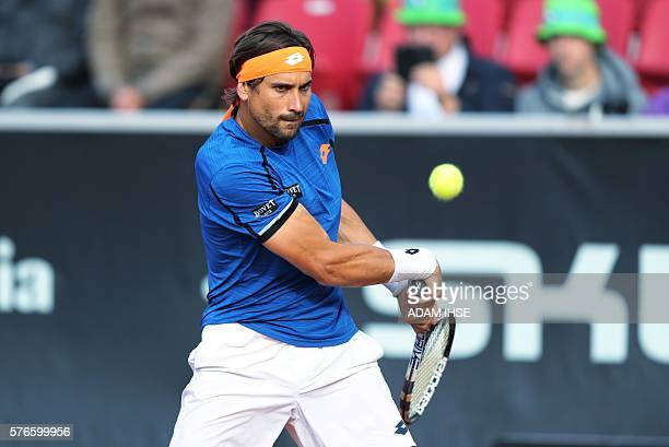 David Ferrer of Spain plays against Albert RamosVinolas of Spain in a semi final in Swedish Open on July 16 2016 in Bastad / AFP / TT News Agency /...