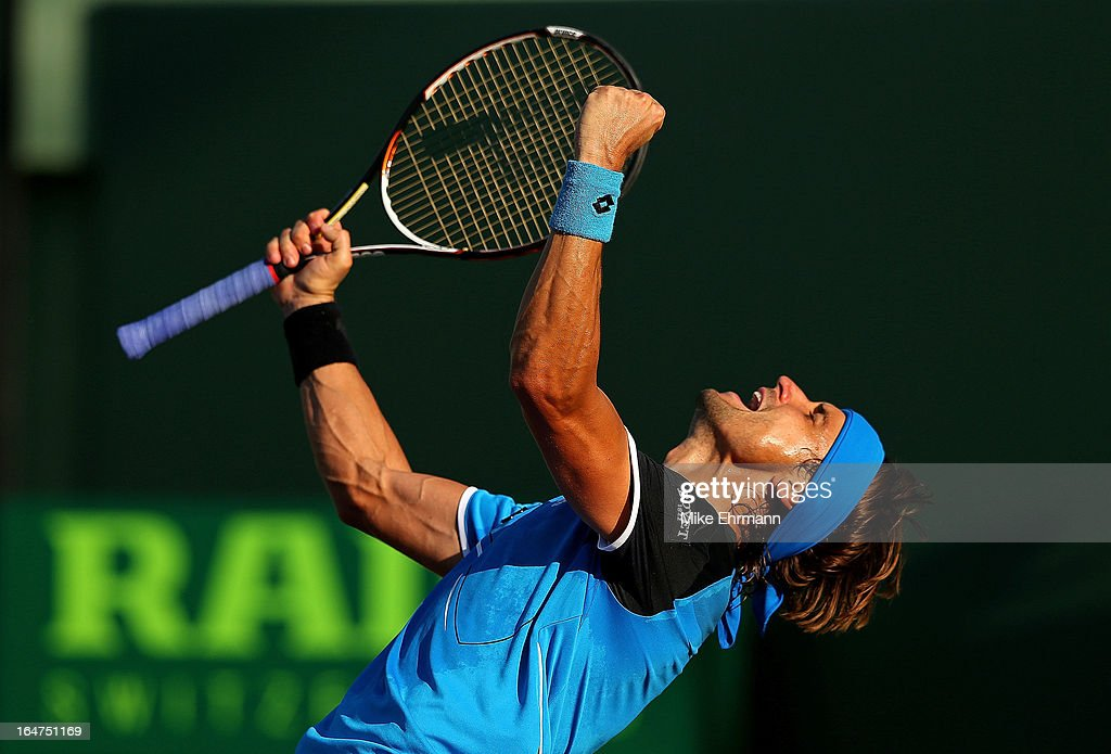 David Ferrer of Spain reacts after winning a match against Jurgen Melzer of Austria during Day 10 of the Sony Open at Crandon Park Tennis Center on March 27, 2013 in Key Biscayne, Florida.
