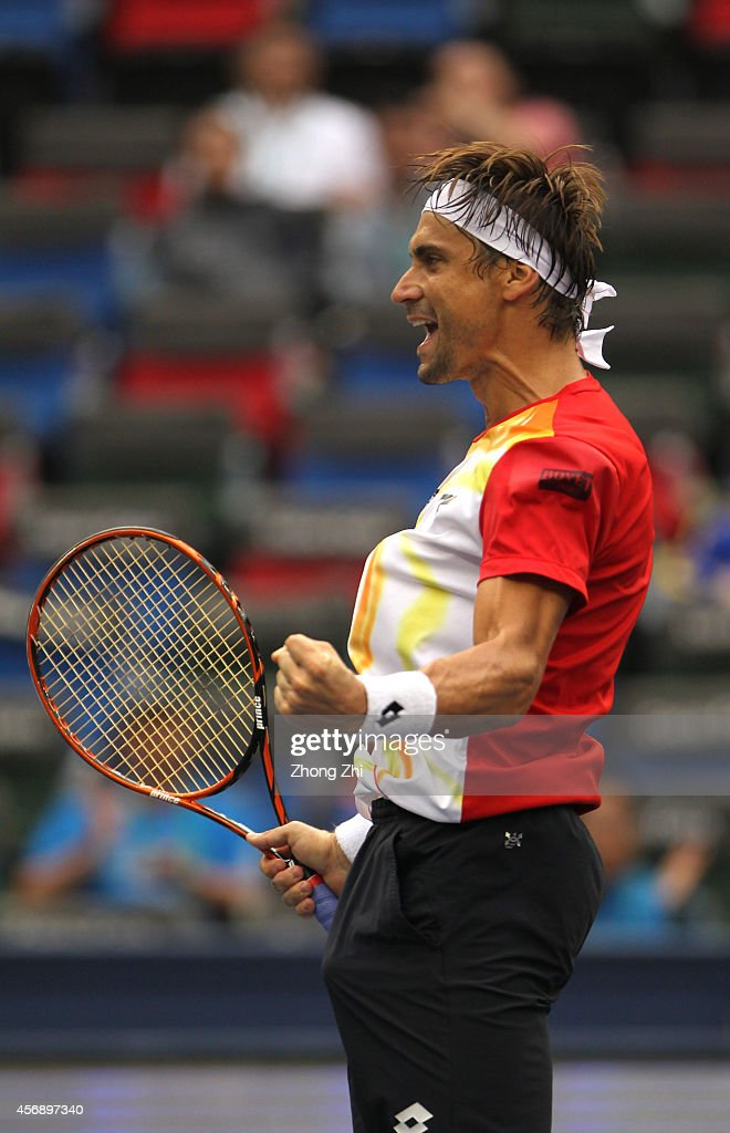David Ferrer of Spain reacts after winning his match against Andy Murray of Great Britain during the day 5 of the Shanghai Rolex Masters at the Qi Zhong Tennis Center on October 9, 2014 in Shanghai, China.