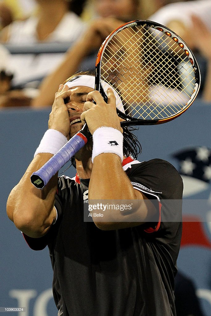 <a gi-track='captionPersonalityLinkClicked' href=/galleries/search?phrase=David+Ferrer&family=editorial&specificpeople=208197 ng-click='$event.stopPropagation()'>David Ferrer</a> of Spain reacts against Fernando Verdasco of Spain on day nine of the 2010 U.S. Open at the USTA Billie Jean King National Tennis Center on September 7, 2010 in the Flushing neighborhood of the Queens borough of New York City.