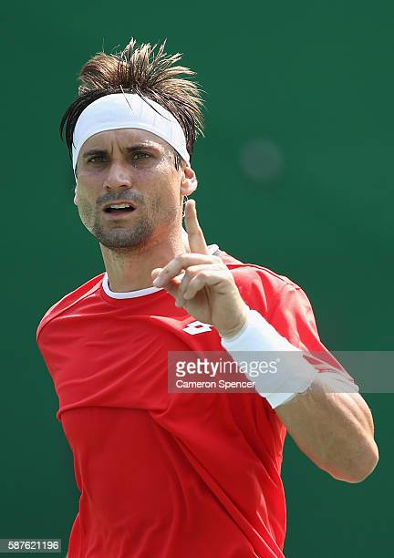 David Ferrer of Spain reacts during the men's second round single match against Evgeny Donskoy of Russia on Day 4 of the Rio 2016 Olympic Games at...