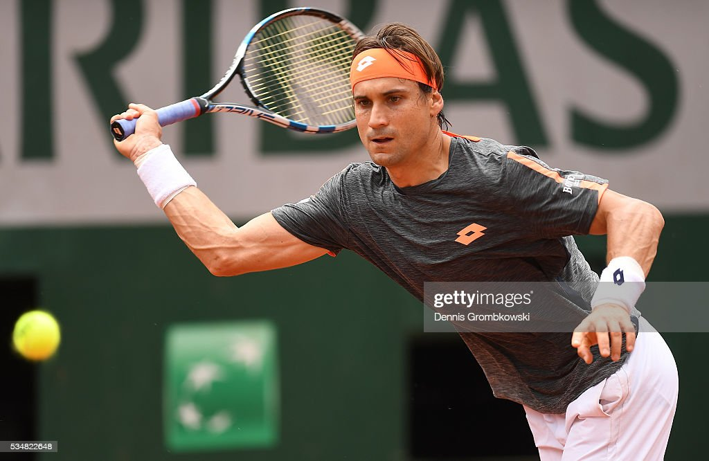 <a gi-track='captionPersonalityLinkClicked' href=/galleries/search?phrase=David+Ferrer&family=editorial&specificpeople=208197 ng-click='$event.stopPropagation()'>David Ferrer</a> of Spain reacts hits a forehand against Feliciano Lopez of Spain on day seven of the 2016 French Open at Roland Garros on May 28, 2016 in Paris, France.