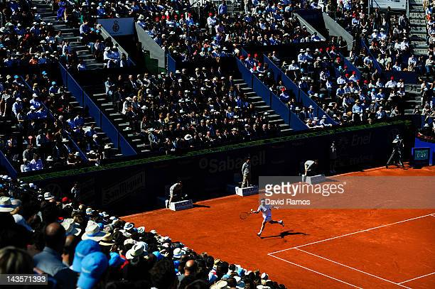 David Ferrer of Spain returns the ball to Rafael Nadal of Spain during their Final match of the ATP 500 World Tour Barcelona Open Banco Sabadell 2012...